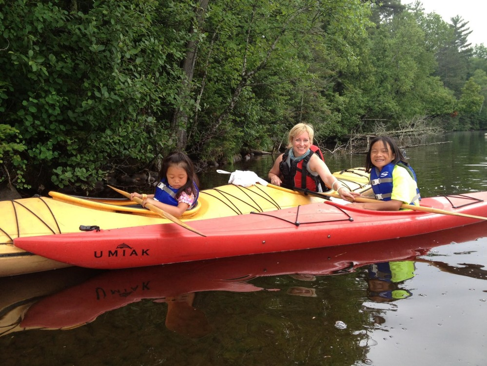 family kayak positive energy outdoors